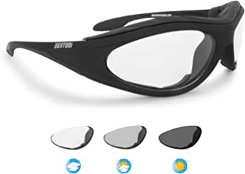 88b0181587 Motorcycle Padded Glasses Photochromic Antifog Anticrash Lens - Windproof  insert - by Bertoni Italy F125A1 Motorbike