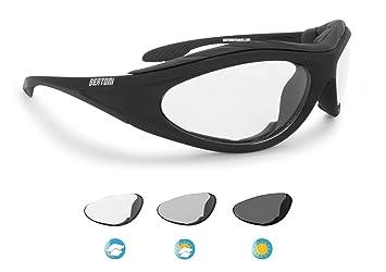 BERTONI Gafas de Moto Fotocromaticas con Lentes Antivaho - Inserto de Espuma Extraíble - F125 Italy: Amazon.es: Deportes y aire libre