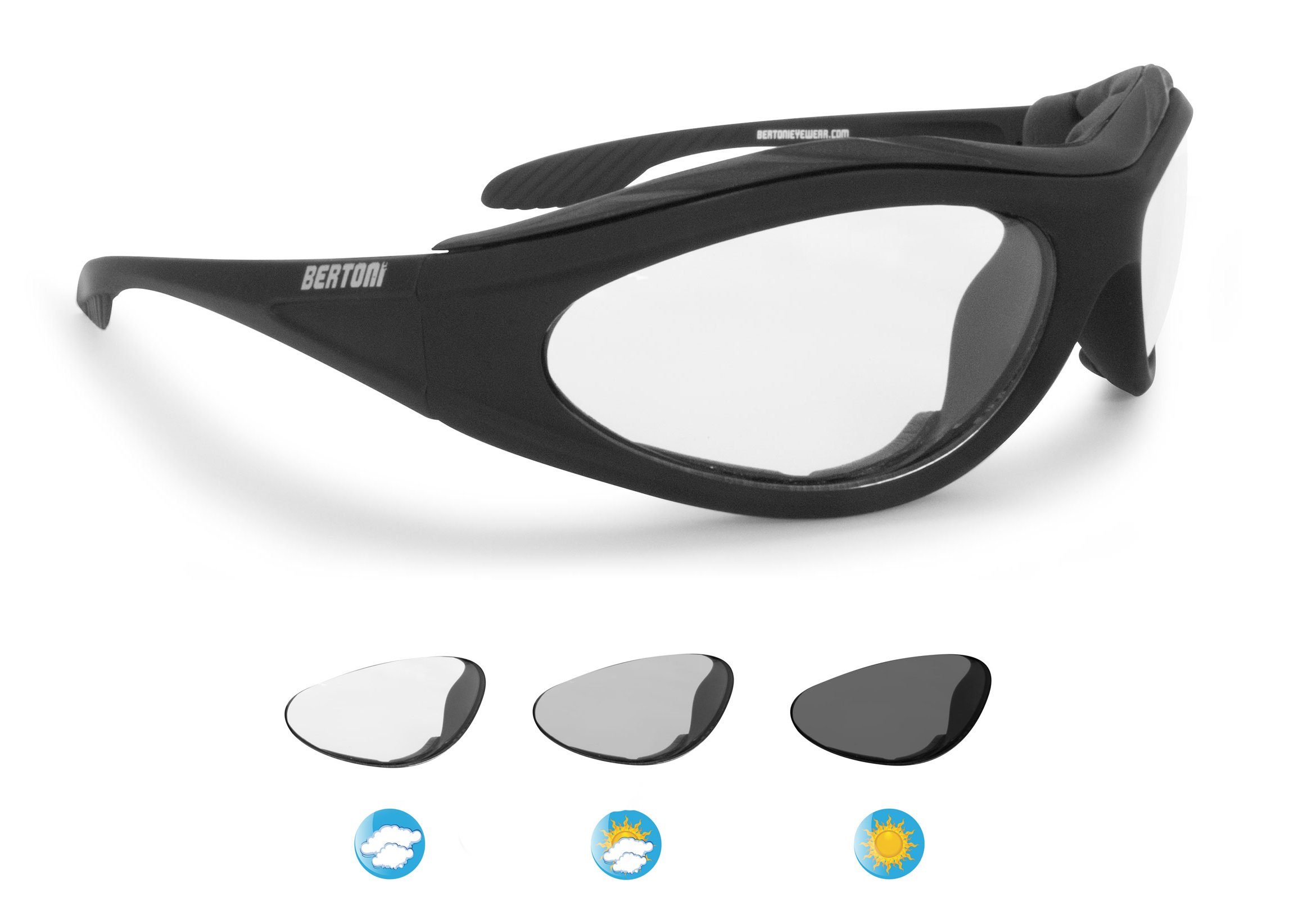 Photochromic Sport Sunglasses - Antifog Anticrash Lens - Windproof insert - by Bertoni Italy F125A1 Motorcycle Riding Goggles Padded Glasses