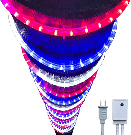 Russell Decor 100ft Blue Red White Led Rope Lights Lamps Kit with Controller Indoor Outdoor Decorative Lighting for Patriotic 4th of July Memorial Day Decor Patio Deck Flexible String Tube Lights