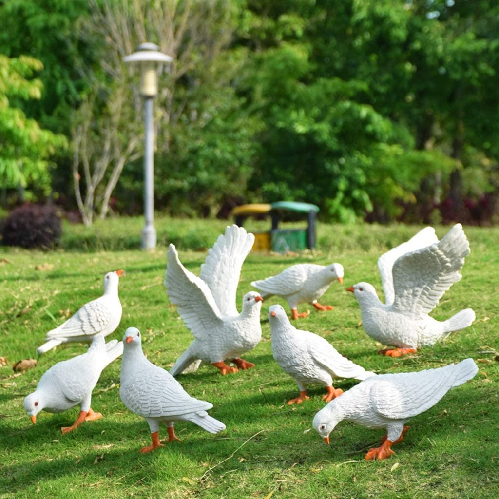 JOYGOOD Outdoor Statues Simulation Animal Sculpture White Dove Figurine in Garden Landscape Garden Resin Pigeon Statue Outdoor Villa Courtyard Decoration (Color : Set8)