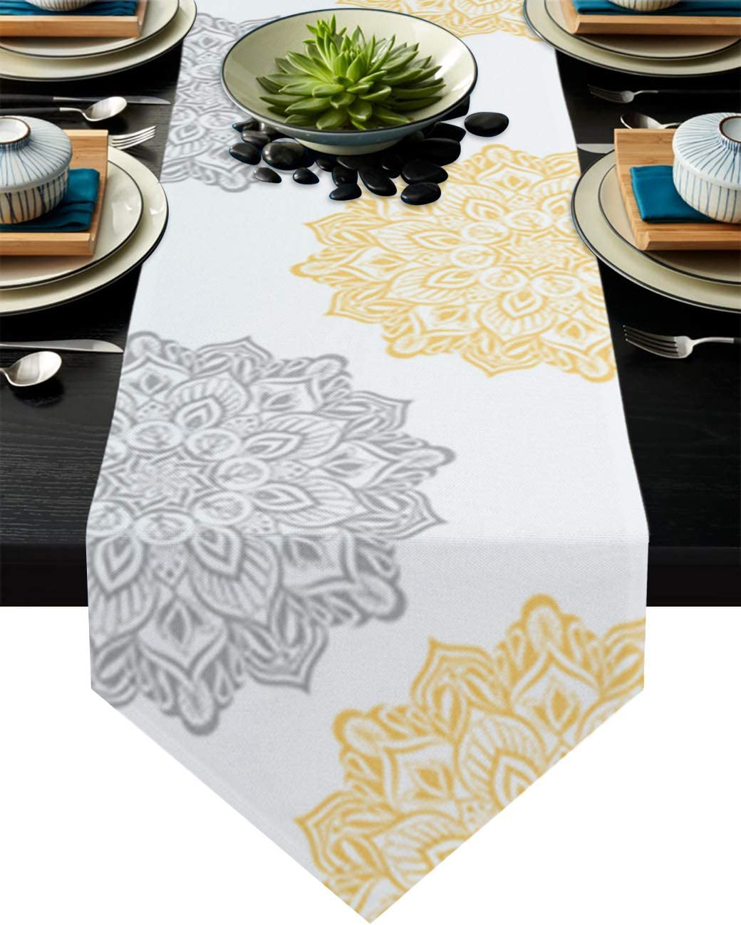 Cotton Linen Burlap Table Runner Dresser Scarves,Elegant Dahlia Flowers Yellow Grey Table Runners for Dinning Table,Farmhouse Kitchen Decor,Dinner Holiday Parties,Wedding,Events,Decoration-14x72 Inch
