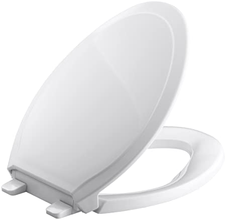 Kohler K 4734 0 Rutledge Quiet Close With Grip Tight Bumpers Elongated Toilet Seat, White by Kohler