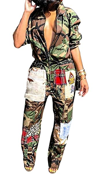 Women Camo Jumpsuit V Neck Long Sleeve Cartoon Patchwork Army Green Wide  Leg Pants Rompers Overall Plus Size