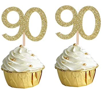 90th Birthday Cake Topper Number 90 Gold Cupcake Decoration