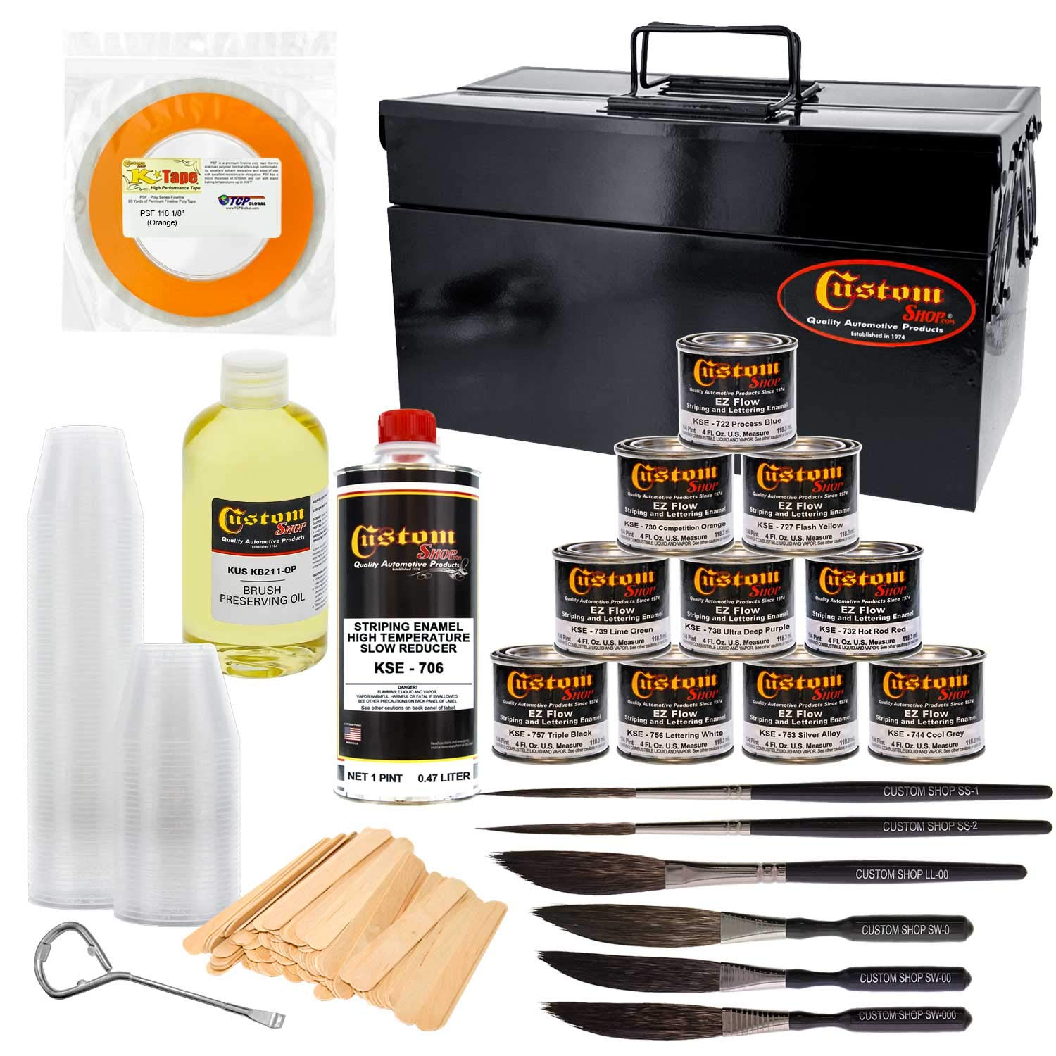Custom Shop Pinstriping Ultimate Box Kit with Storage Box - 10-4 Ounce Enamel Paint Colors, Tape, Color Chart, Reducer, Brushes and Mixing Cups