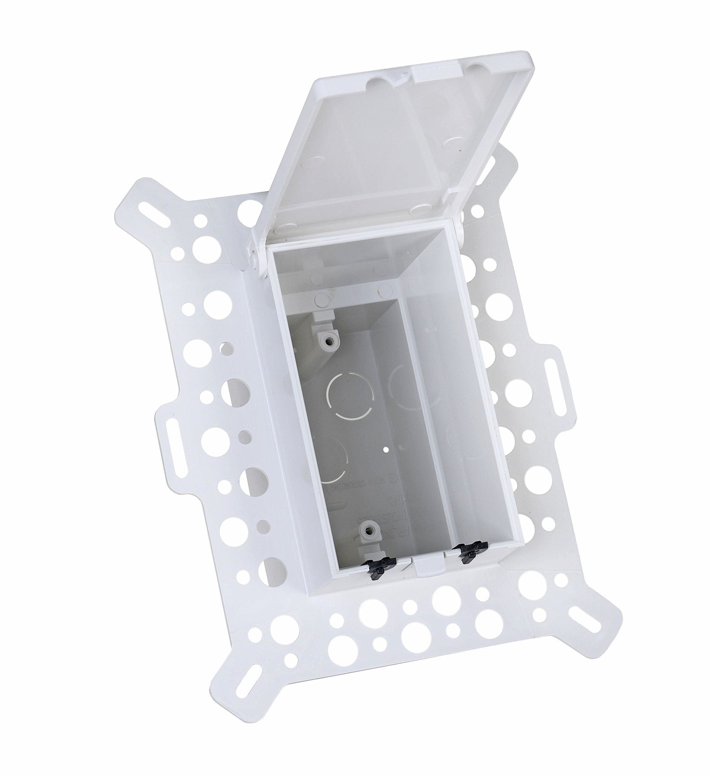 Arlington DBVM1W-1 Low Profile IN BOX Electrical Box with Weatherproof Cover for New Construction Stucco/Textured Surfaces/Rigid Siding, Vertical, 1-Gang, White by Arlington Industries