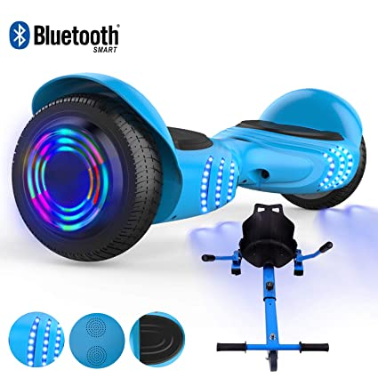 RCB Patinete Eléctrico 6.5 Pulgadas Eléctrico Scooter para Niños Adultos con Luces Ancho Robusto Neumático Incorporado Bluetooth