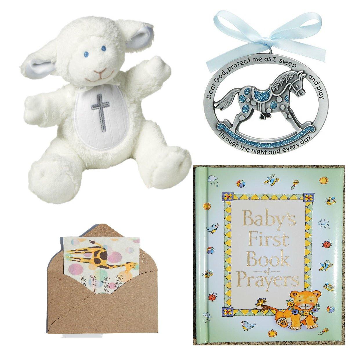 Catholic Baby Baptism Christening Or Baby Shower Gift Set-4 Items Blue (Blue)