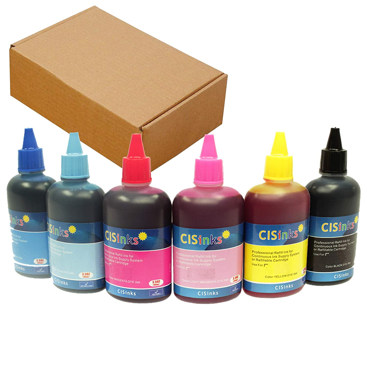 CISinks [Refill Universal Pigment Ink Bottle SET – 6 Color 20 3oz / 600ml]  Compatible for Continuous Ink Supply System or Refillable Cartridges Inkjet