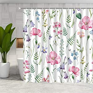 DMTTY Pink Floral Shower Curtain Spring Decor Pink Flower Green Leaf Bathroom Curtain 72x72 Inches Fabric Bathroom Accessories Polyester with Hooks