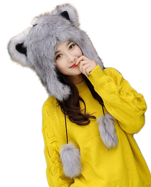 bfc779e10d4 Amazon.com  MioCloth Cute Warm Plush Fluffy Faux Fur Hood Hat Spirit Ears  Wolf Bear Cat Costume Hat Christmas Gift  Clothing