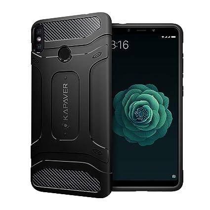 online retailer 9c275 a5d1c KAPAVER Xiaomi Mi A2 Back Cover Case Drop Tested Shock Proof Carbon Fiber  Armor Black (Mi 6X)