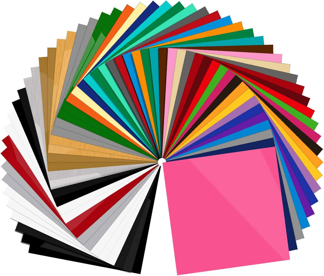 "55 Pack Premium Permanent Self Adhesive Vinyl Sheets-Assorted Colors (Glossy, Matte, Brushed) for Other Cutters & Decals 12""x12"""