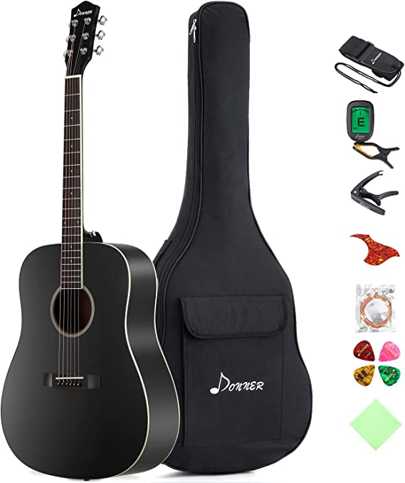 Donner DAG-1B Black Beginner Acoustic Guitar Full Size