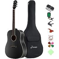 "Donner DAG-1B Black Beginner Acoustic Guitar Full Size, 41"" Dreadnought Guitar Bundle with Gig Bag Tuner Capo Picks Strap String"