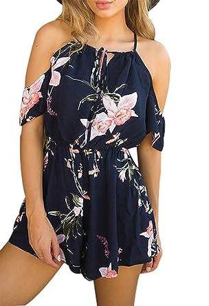 b7fab878490 Women Sexy Jumpsuits Romper Floral Print Off Shoulder Shorts Jumpsuit  Playsuit Size S (Blue)
