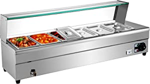VEVOR 6-Pan Bain Marie Food Warmer 6-Inch Deep, 110V Food Grade Stainelss Steel Commercial Food Steam Table, 1500W Electric Countertop Food Warmer 42 Quart with Tempered Glass Shield
