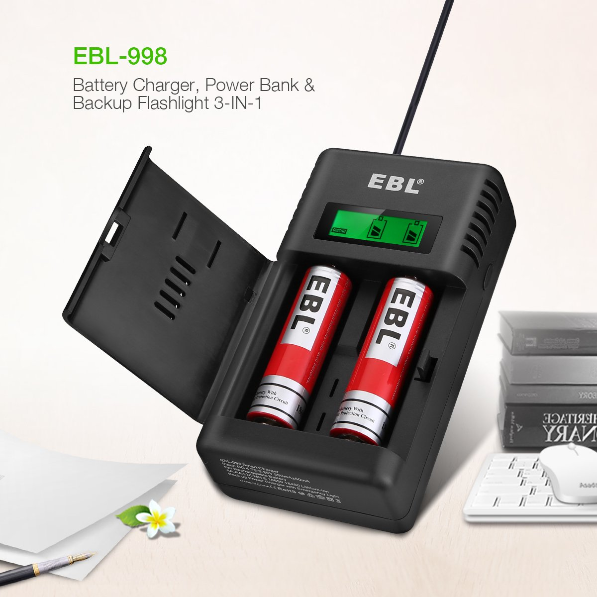 EBL Smart Battery Charger for Li-ion/IMR/Ni-MH/Ni-Cd 26650 18650 16340 RCR123 14500 10440 AA AAA AAAA C Rechargeable Battery with LED Flashlight(Battery Not Included) by EBL (Image #1)