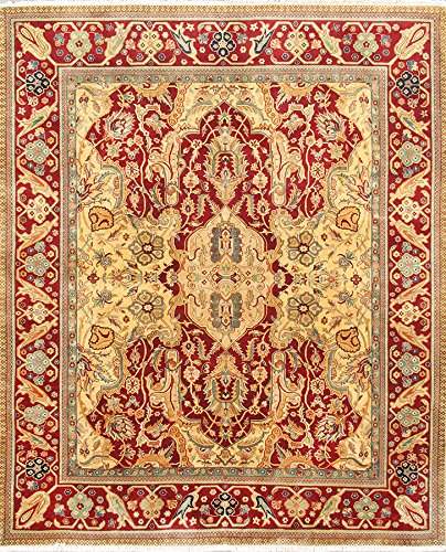 Agra Gold Area Rugs - Pasargad Carpets PH-128 8X10 Crown Jewel Agra Collection Hand Knotted Lamb's Wool Area Rug, 8' x 10'