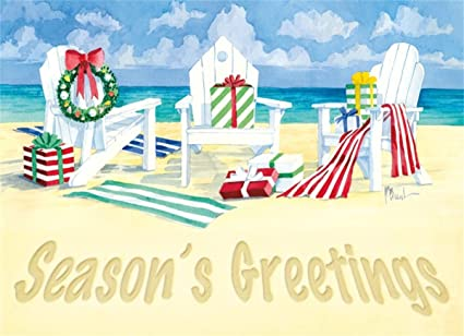 Beach Christmas Cards >> Amazon Com 18 Christmas Cards And Envelopes Holiday Beach