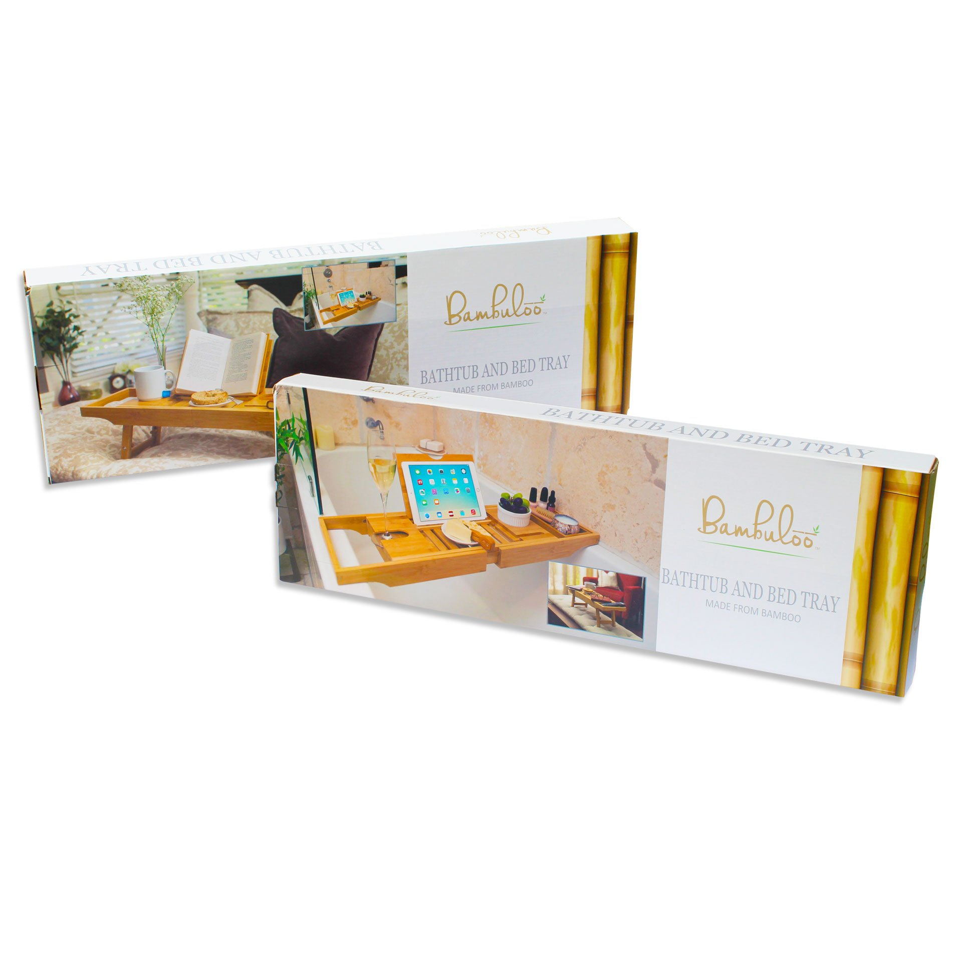 Bathtub Caddy and Bed Tray Combo - Premium Bamboo Wood with 2 Lavender Bath Bombs - Folding Legs/Fully Adjustable - Mold Resistant - Phone Tablet and Wine Holders for The Finest Home Spa Experience by Bambuloo (Image #8)
