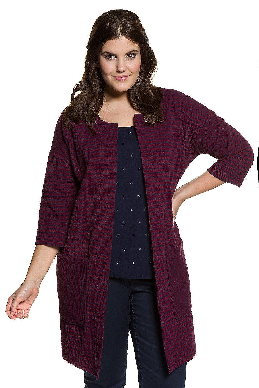 Studio Untold Damen große Größen Feinstrick-Jacke | gestreift, große modische Taschen | Rundhals, 3/4-Arm | offen & lang geschnitten | bis Größe 54 706656
