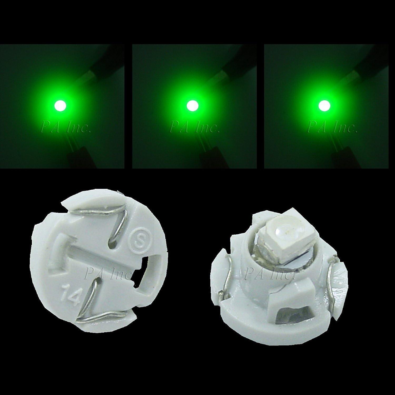 PA 20pcs T4.2 T5 Car Auto Dash Board Instrument LED Bulbs 5 color options 12v (Green)