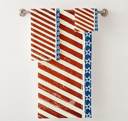 vunko, diseño de bandera estadounidense vintage baño juego de toallas 3 piezas, estrellas patrióticas