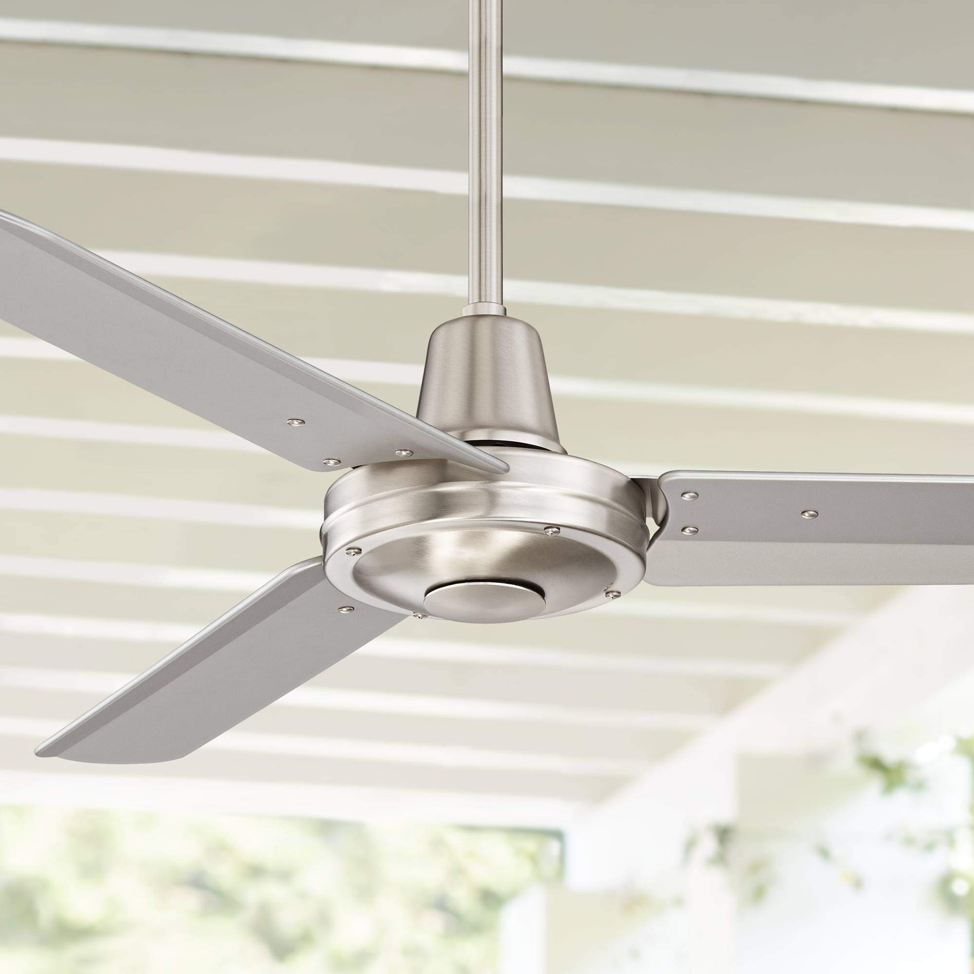 44'' Plaza Modern Industrial Outdoor Ceiling Fan with Remote Control Brushed Nickel Damp Rated for Patio Porch - Casa Vieja