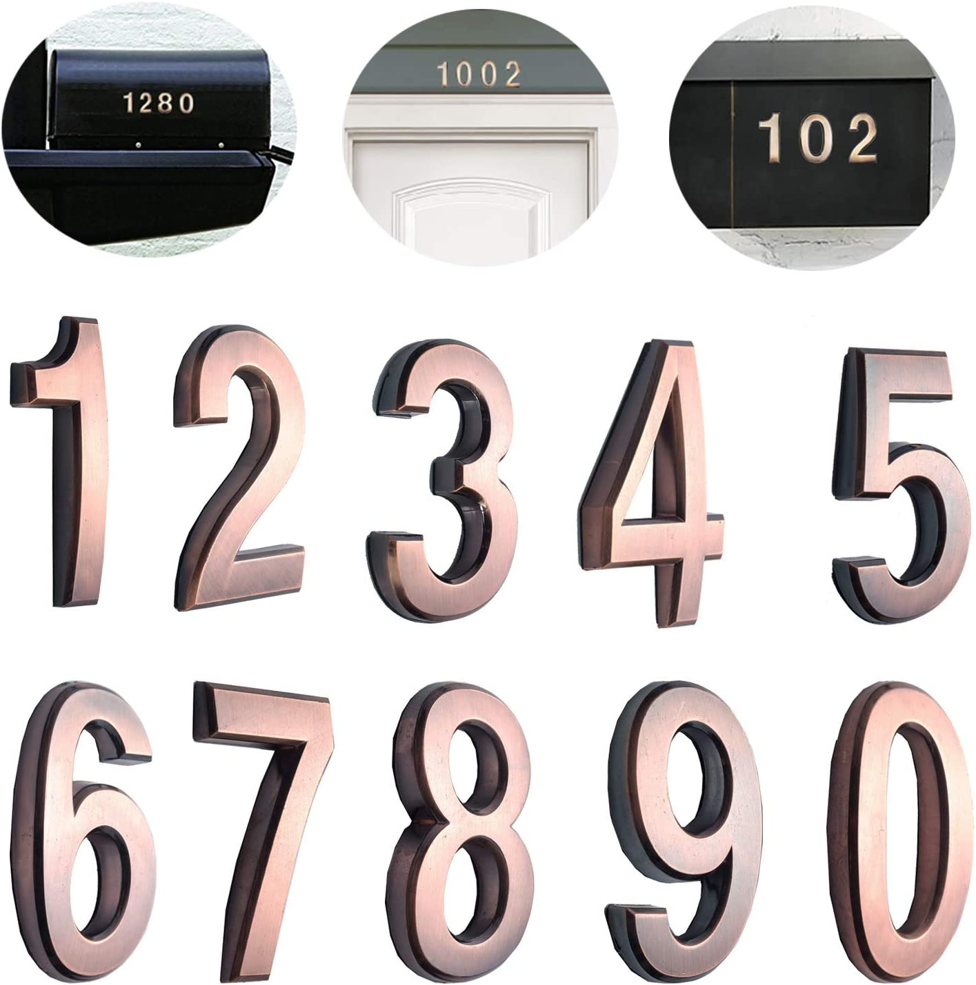 """10 Pack 2-3/4""""(Pack 0 to 9, Bronze) self Adhesive Door House Numbers and Street Address Plaques Numbers for Residence and Mailbox Signs. (2-3/4"""" 10 Pack (0-9), Bronze)"""