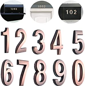 "10 Pack 2-3/4""(Pack 0 to 9, Bronze) self Adhesive Door House Numbers and Street Address Plaques Numbers for Residence and Mailbox Signs. (2-3/4"" 10 Pack (0-9), Bronze)"