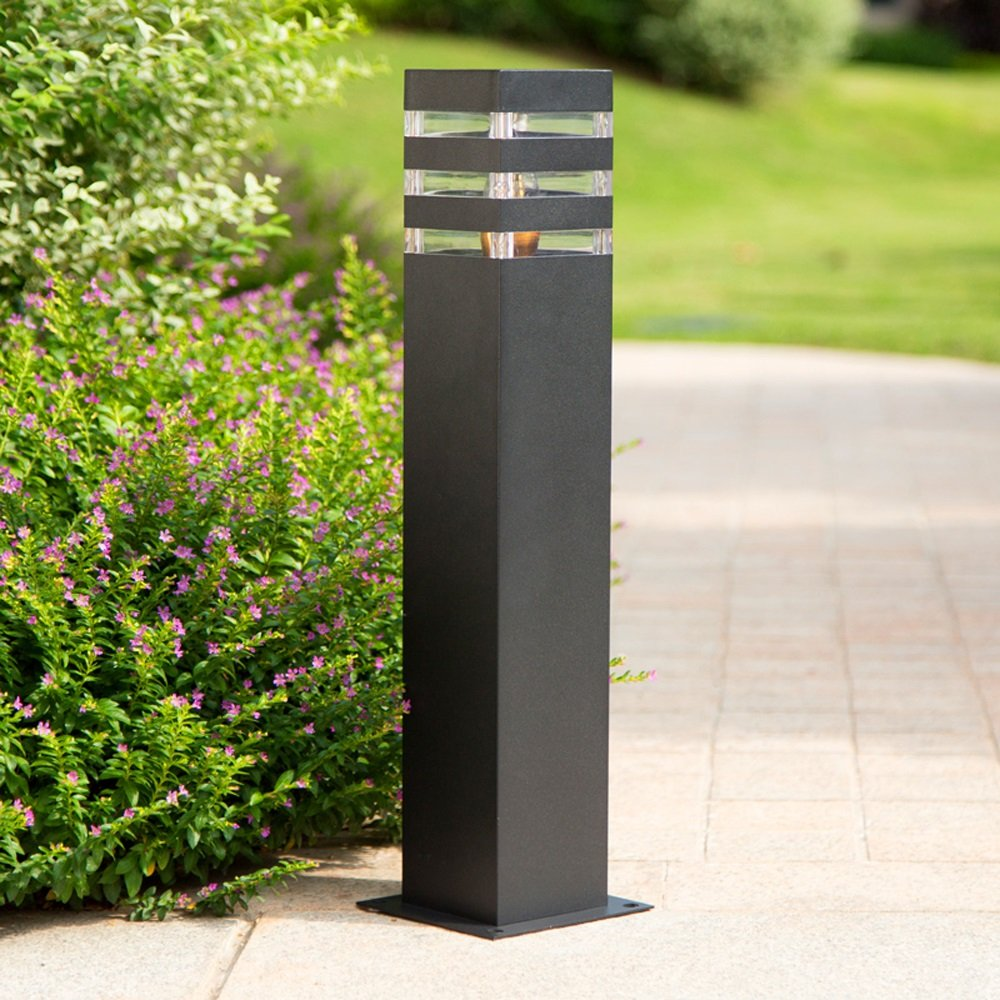Modeen Outdoor Lawn Light Floor Lamp Simple Modern Villa Column Lamp Post Light Patio Garden Decoration Lights Waterproof Table Light E27 Decoration Illumination (Color : Black, Size : 40cm)