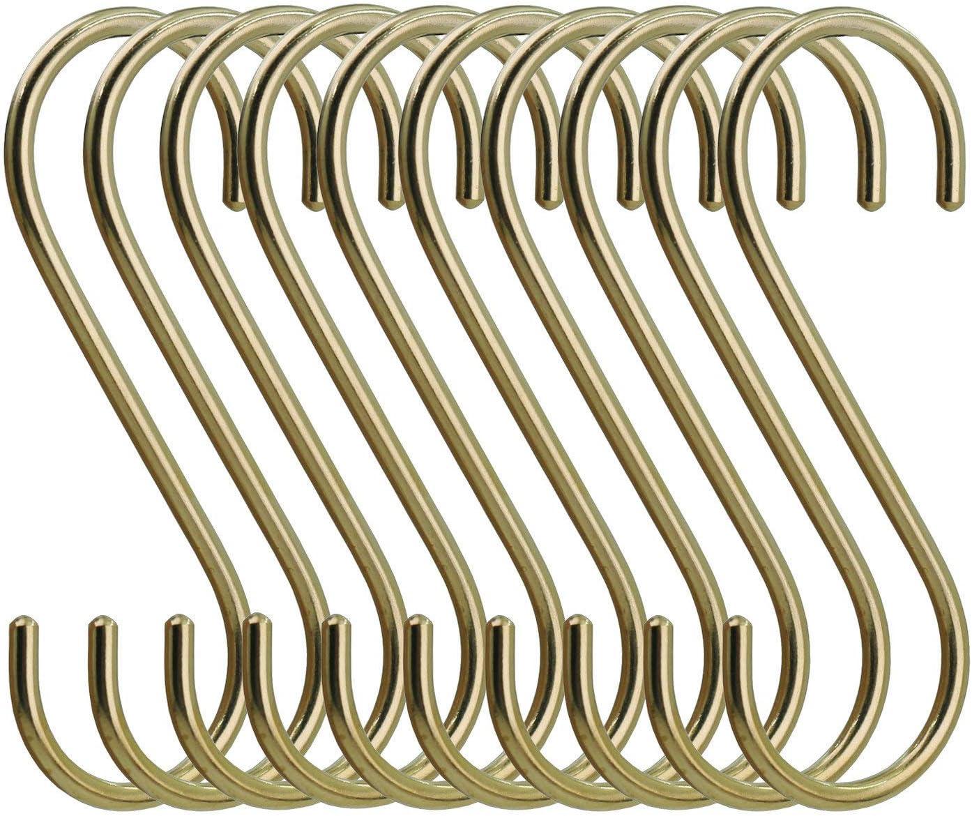 simpletome Ganchos en Forma de S para Colgar Resistentes Metal S Ganchos 10 Unidades Oro