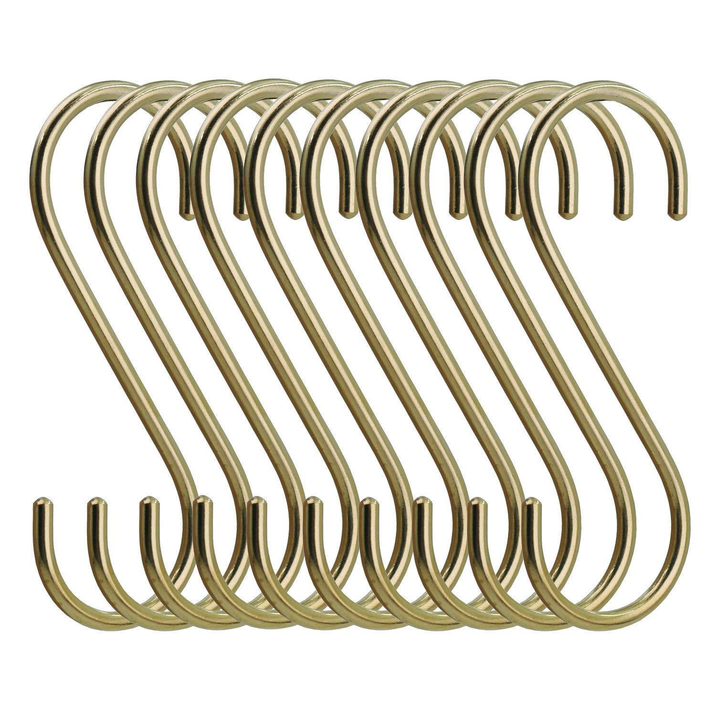 simpletome S Hooks Copper Hangers for Kitchen Bathroom Bedroom Office (Copper/10PCS)