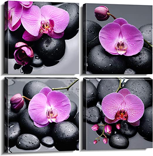 PURPLE ORCHIDS CANDLES CANVAS PICTURE PRINT WALL ART HOME DECOR FREE DELIVERY
