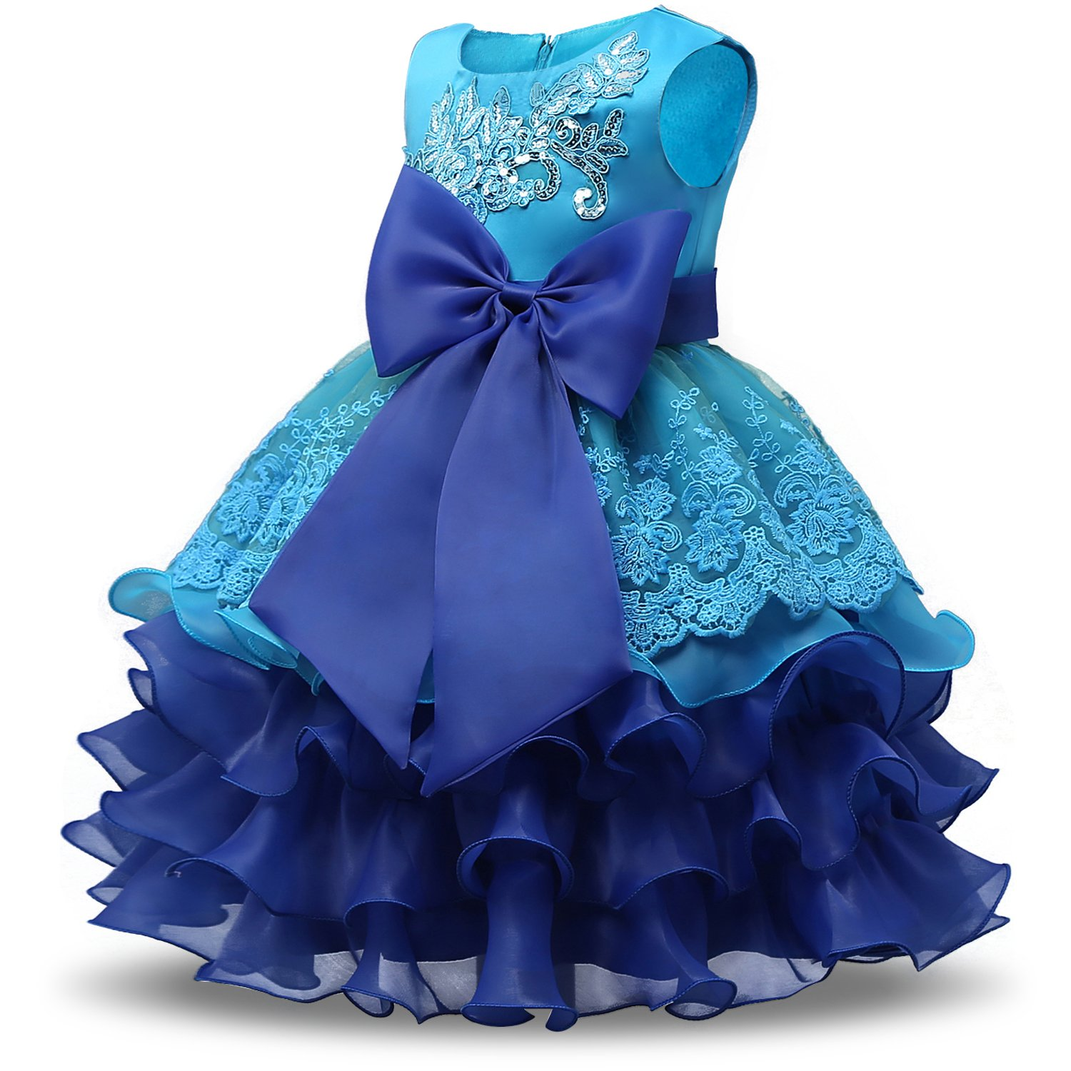 Amazon.com: NNJXD Girl Ruffles Vintage Embroidered Sequins Flower ...