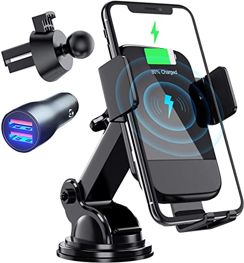 Wireless Car Charger,  Auto-Clamping Air Vent Dashboard Car Phone HolderCar Charge.