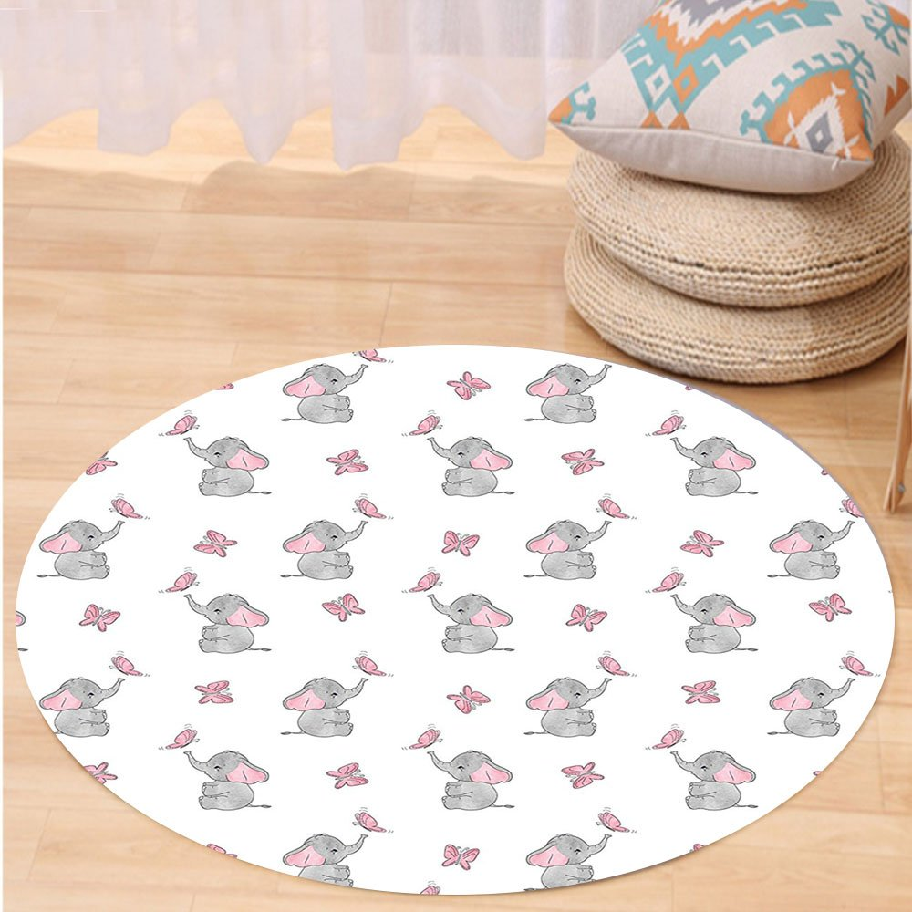 VROSELV Custom carpetElephant Nursery Decor Baby Elephants Playing with Butterflies Lovely Kids Room for Bedroom Living Room Dorm Grey Light Pink White Round 72 inches