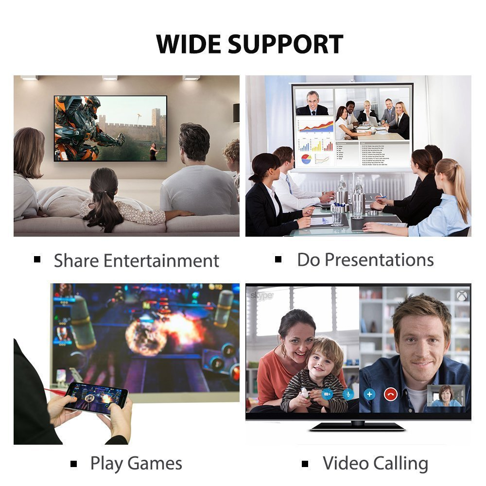 MHL to HDMI Adapter for Smartphones, WEILIANTE HD 1080P HDMI Adapter 1080P Digital AV Adapter HDTV MHL Cable Support All Smartphones to Mirror on TV/Projector/Monitor by WEILIANTE (Image #5)