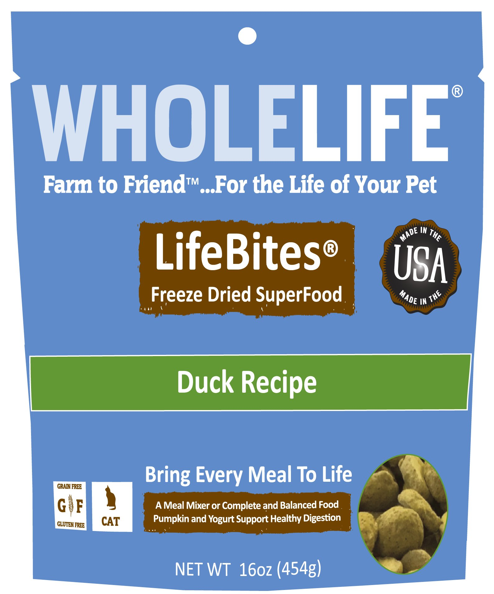 Whole Life Pet LifeBites Duck Recipe Freeze Dried Food for Cats, 16 oz