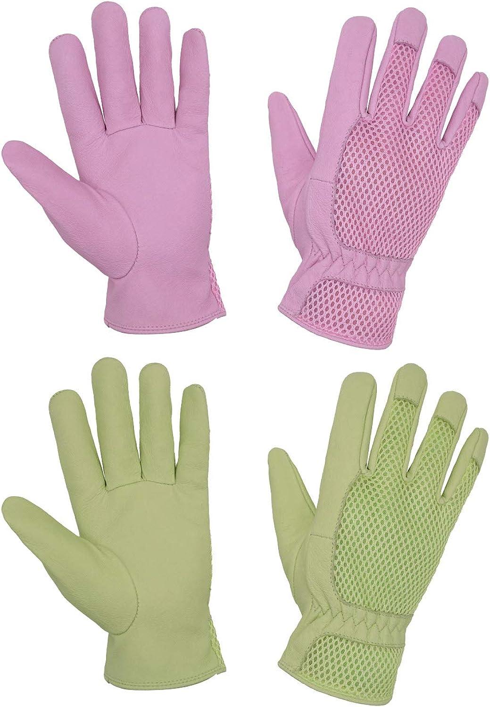 2 Pairs Womens Garden Gloves, Ladies Pigskin Scratch Resistance Rose Pruning Gardening Gloves