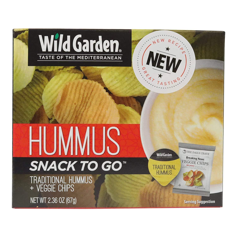 Wild Garden Hummus-To-Go: Traditional Hummus + Gluten-Free Veggie Chips, 100% All-Natural, No Additives, No Preservatives, 6 pack