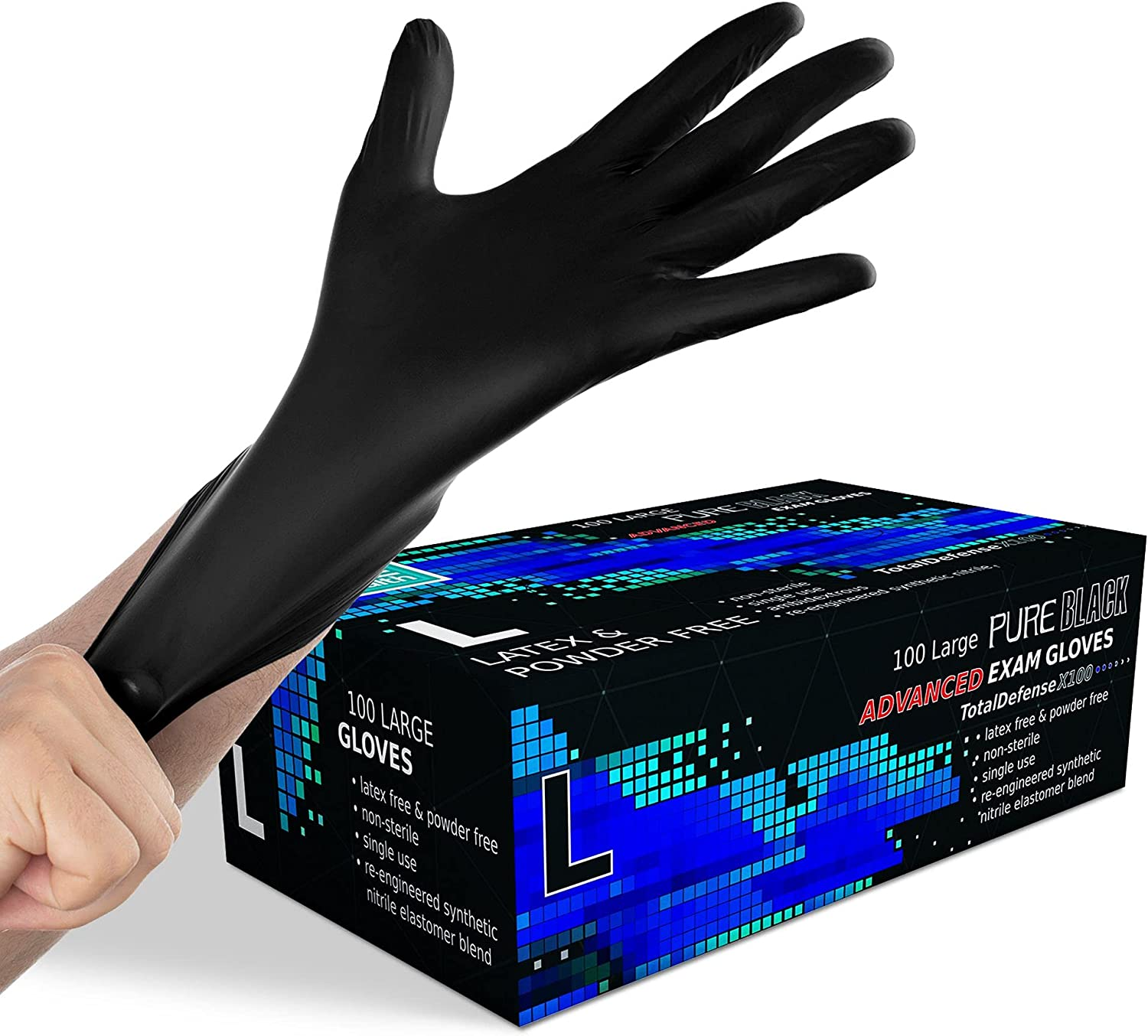Synthetic Nitrile Black Disposable Gloves Large -100 PK No Latex Medical Gloves