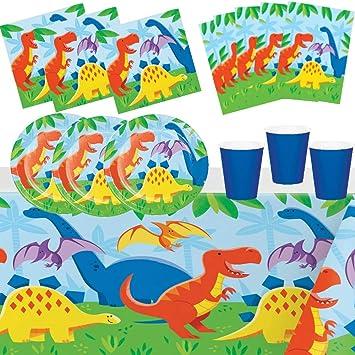 Fiesta de Cumpleaños Dinosaurio Animales para 8 Niños Niña ...