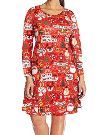 6d7073bb8a HDE Womens Plus Size Party Dress Ugly Christmas Sweater Long Sleeve Skater  Dress at Amazon Women s Clothing store