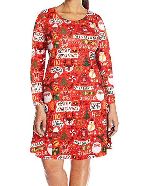 HDE Womens Plus Size Party Dress Ugly Christmas Sweater Long Sleeve Skater  Dress