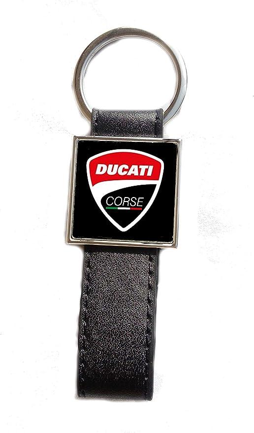 Schlüsselanhänger Aus Stahl Kunstleder Logo Ducati Korsika Hintergrund Schwarz Bekleidung