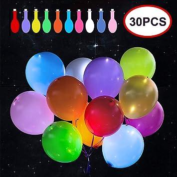 Amazon.com: Paquete de 30 globos LED de 10 colores con luz ...