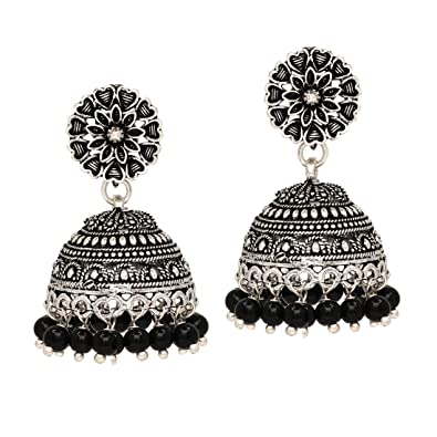 Buy Jaipur Mart Ethnic Collection Jhumki Earrings for Women (Black)(GSE676BLK)  Online at Low Prices in India  b696e6e905